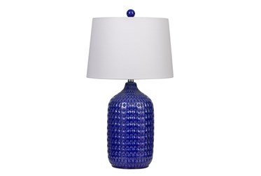 "27"" Blue Ceramic Table Lamp Set Of 2"