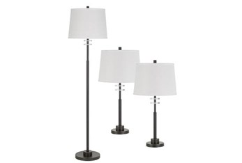 3 Piece Set Floor Lamp And Table Lamps