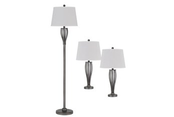 3 Piece Set Metal Floor Lamp And Table Lamps