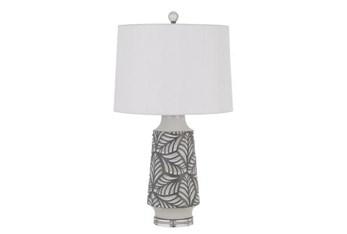 "27"" White Ceramic Leaf Print Table Lamp"
