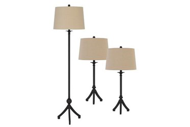 3 Piece Tripod Set Floor Lamp And Table Lamps