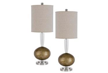 "20.5"" Crystal/Metal Table Lamp Set Of 2"
