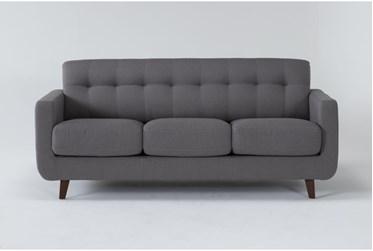 "Allie Dark 80"" Grey Queen Sleeper Sofa With Memory Foam Mattress"
