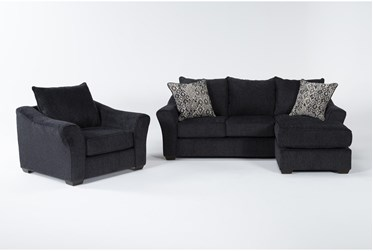 Atwater Navy Sofa With Reversible Chaise And Chair
