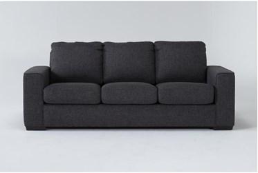 "Lucy Dark Grey 86"" Queen Sleeper Sofa With Memory Foam Mattress"