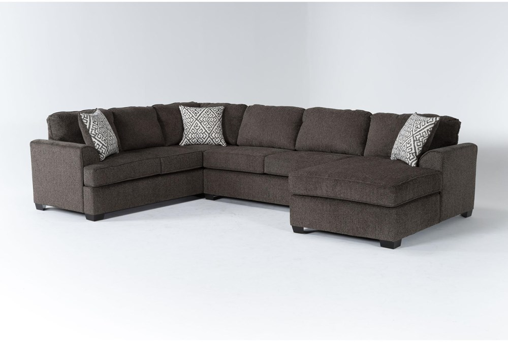 """Taylor Earth 141"""" 3 Piece Sectional With Right Arm Facing Chaise"""