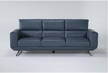 """Messina Blue 97"""" Leather Sofa"""