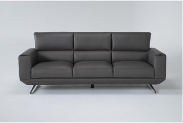 "Messina Grey 97"" Leather Sofa"