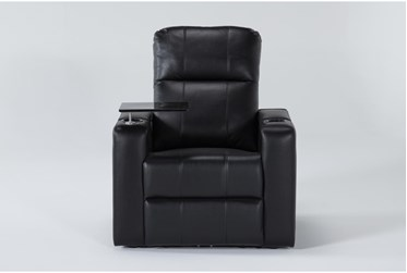 Sortino Black Home Theater Power Recliner With Table