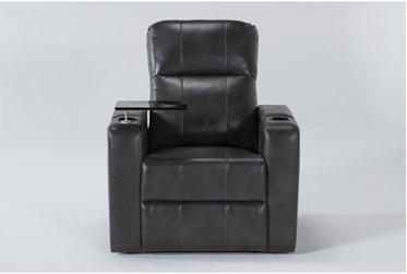 Sortino Grey Home Theater Power Recliner With Table