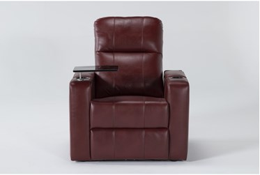 Sortino Red Home Theater Power Recliner With Table