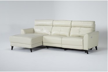 """Floridia 104"""" 2 Piece Leather Power Reclining Sectional with Left Arm Facing Chaise"""