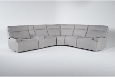 """Macari Grey 154"""" 6 Piece Power Reclining Sectional With Mini iTable"""