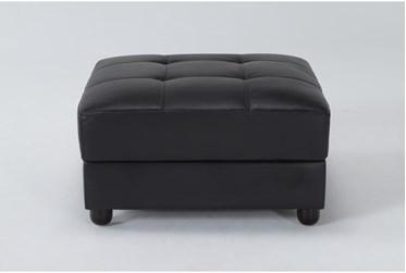 Leonardo Black Leather Ottoman