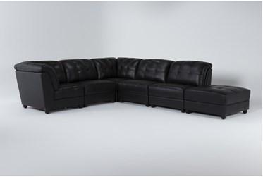 "Leonardo 110"" Black Leather 6 Piece Sectional"