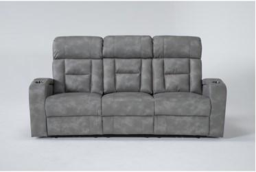 "Vittoria 87"" Grey Power Reclining Sofa"