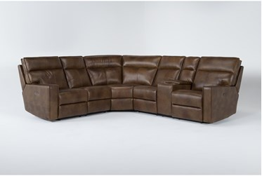 """Corleone 116"""" Camel 3 Piece Leather Power Reclining Sectional"""