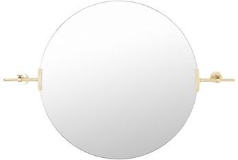 "34""X24"" Round Gold Frame Wall Mirror"