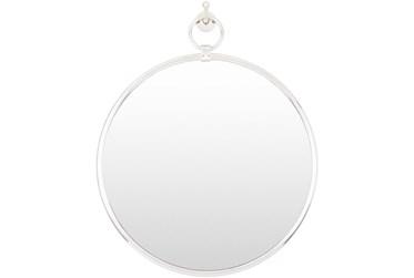 "27""X23"" Round Globes Silver Frame Wall Mirror"