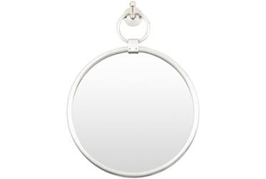 "18""X14"" Round Globes Silver Frame Wall Mirror"