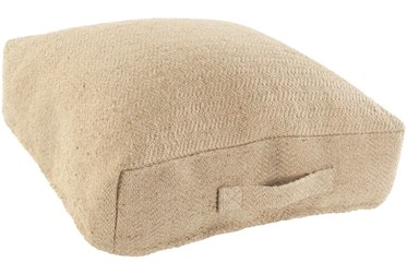 """24""""X24"""" Camel Jute Floor Pillow With Handle"""
