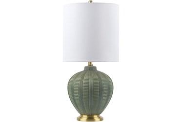 """26"""" Green Glazed Ceramic Table Lamp"""