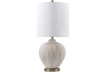 "26"" Off-White Glazed Ceramic Table Lamp"