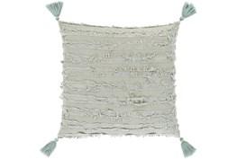 "20""X20"" Sage Tassel Throw Pillow"