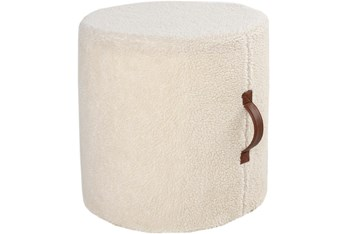 """16"""" Round Cream Faux Fur Floor Pouf With Handle"""