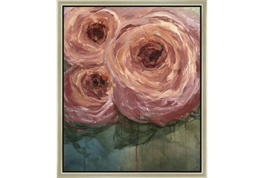 20X24 Blushing Blooms With Champage Frame