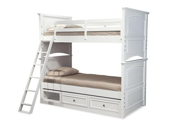 Madsie Twin Over Twin Bunk Bed With Storage Drawer