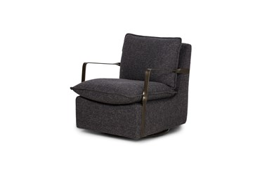 Metal Arm + Grey Fabric Swivel Accent Chair