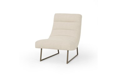 Metal Base Channeled Accent Chair