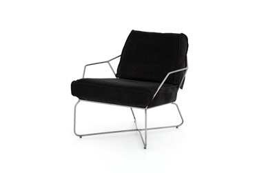 Tp Grain Black Leather + Iron Base Accent Chair