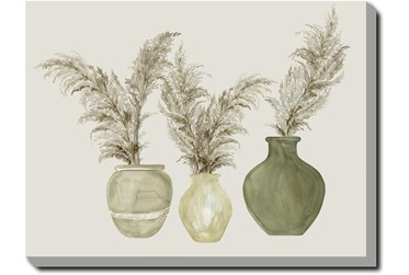 30X40 Pampas In Green Pots With Gallery Wrap Canvas