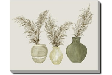 40X50 Pampas In Green Pots With Gallery Wrap Canvas