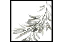 20X20 Watercolor Leaf Grey With Black Frame