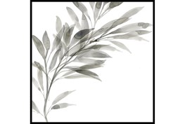 45X45 Watercolor Leaf Grey With Black Frame