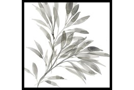 24X24 Watercolor Leaf Grey With Black Frame