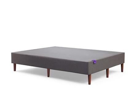 The Purple Foundation Charcoal Grey + Walnut Finish Wood Legs Queen - Main