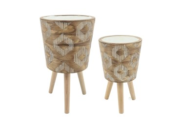 Diamond Pattern Resin Planter With Wood Legs Brown Set Of 2