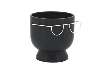 6 Inch Face W/ Glasses Planter Black