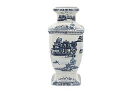 """15"""" Ceramic Vase White & Blue"""