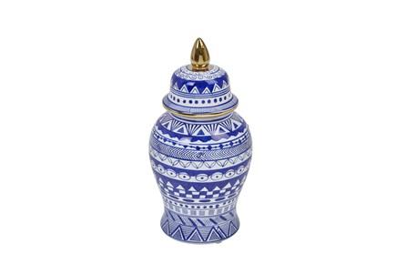 Modern Temple Jar White & Blue W/ Gold Trim - Main