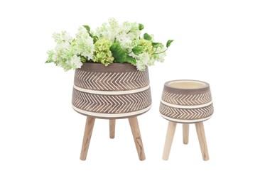 Resin Planter W/ Wood Legs Brown Set Of 2