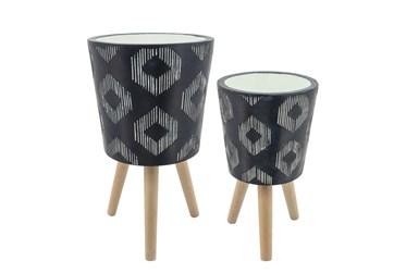 Diamond Pattern Resin Planter W/ Wood Legs Black Set Of 2