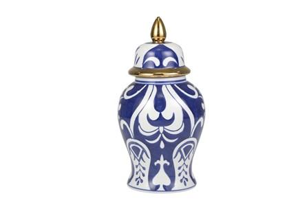 Modern Temple Jar, White & Blue W/ Gold Trim - Main