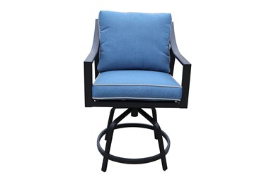 """Bedford Black Outdoor 28"""" Swivel Barstool With Blue Cushion- Set Of 2"""