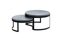 Amherst Outdoor 2 Piece Concrete Nesting Coffee Table Set