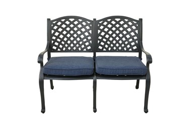 New Haven Desert Night Outdoor Bench With Navy Blue Cushion